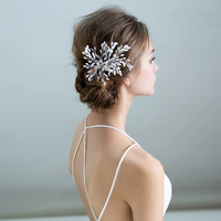 Fashion Plant Design Hair Combs Simulated Pearl Beads Headdress Bridal Wedding Headpiece Ornaments Girls Party Hairpins