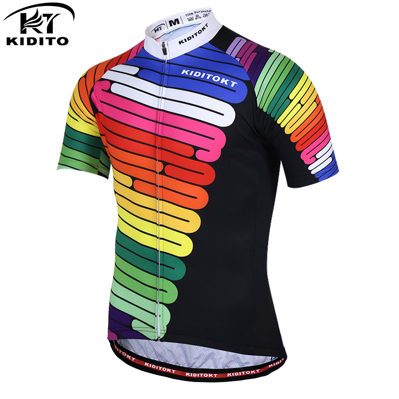 KIDITOKT Pro Tez Quru Velosiped Cersi Yay Nəfəs ala bilən Velosiped Geyim Velosiped Geyimləri MTB Velosiped Cersi Ciclismo Maillot
