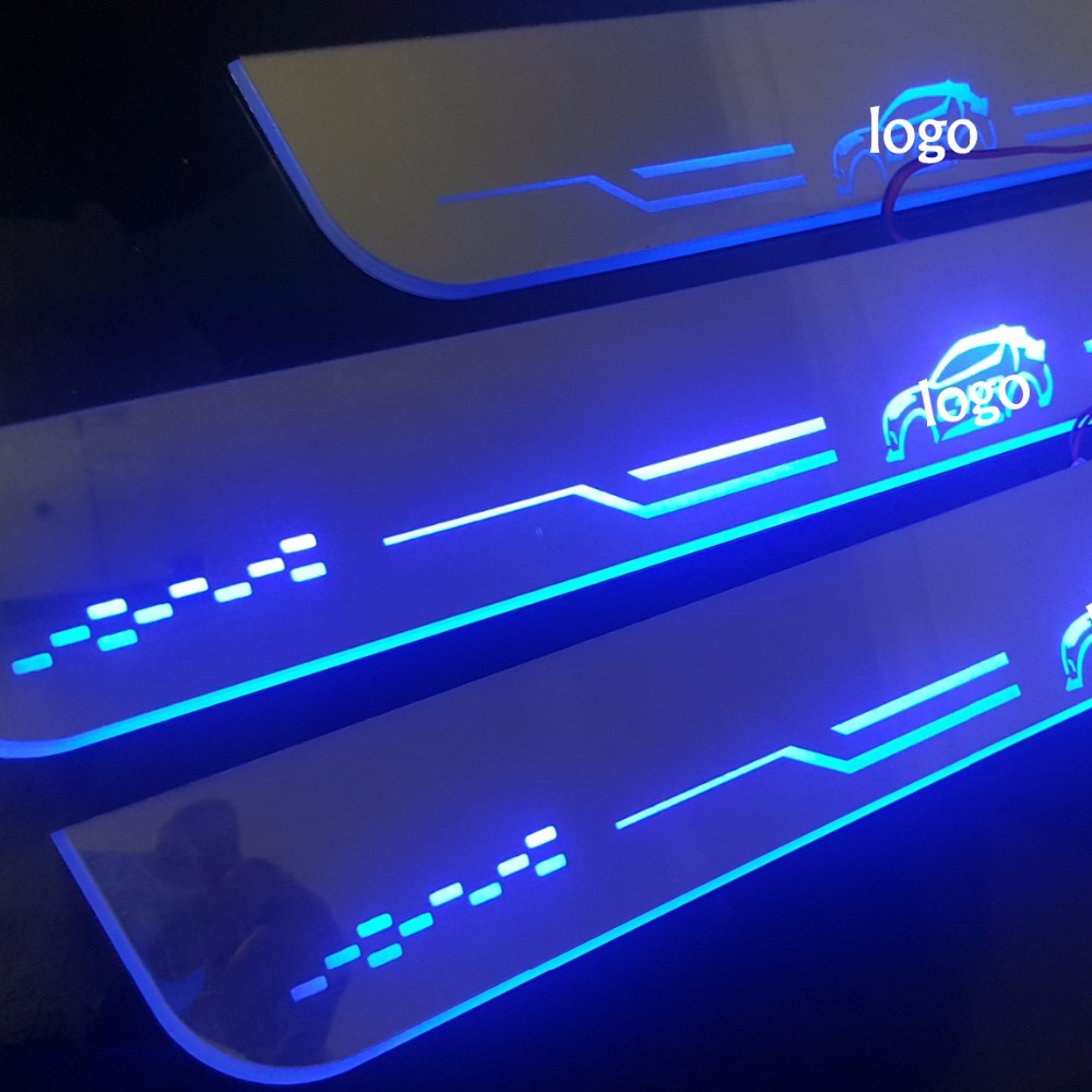 4 pcs Scuff Plate Door Sill threshold LED for 2017 2018 Toyota C-HR CHR Customized waterproof moving light 2x cool led door sill led strip threshold scuff plate entry guard for volkswagen vw magotan 2012 2015