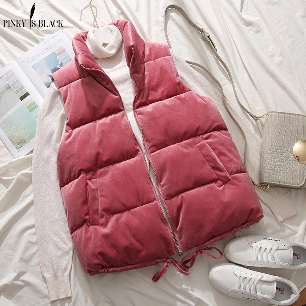 PinkyIsBlack Winter Vest Women Waistcoat 2019 Female Sleeveless Jacket Stand Collar Warm Velvet Vest Outwear Colete Feminino