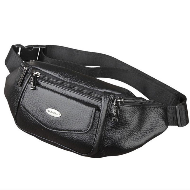 2207acb8c1e6 US $17.09 34% OFF Men Genuine Leather Fanny Waist Bag Travel Hip Belt Cell  Phone Case Purse Single Back Pack Sling Chest Day Pack New-in Waist Packs  ...