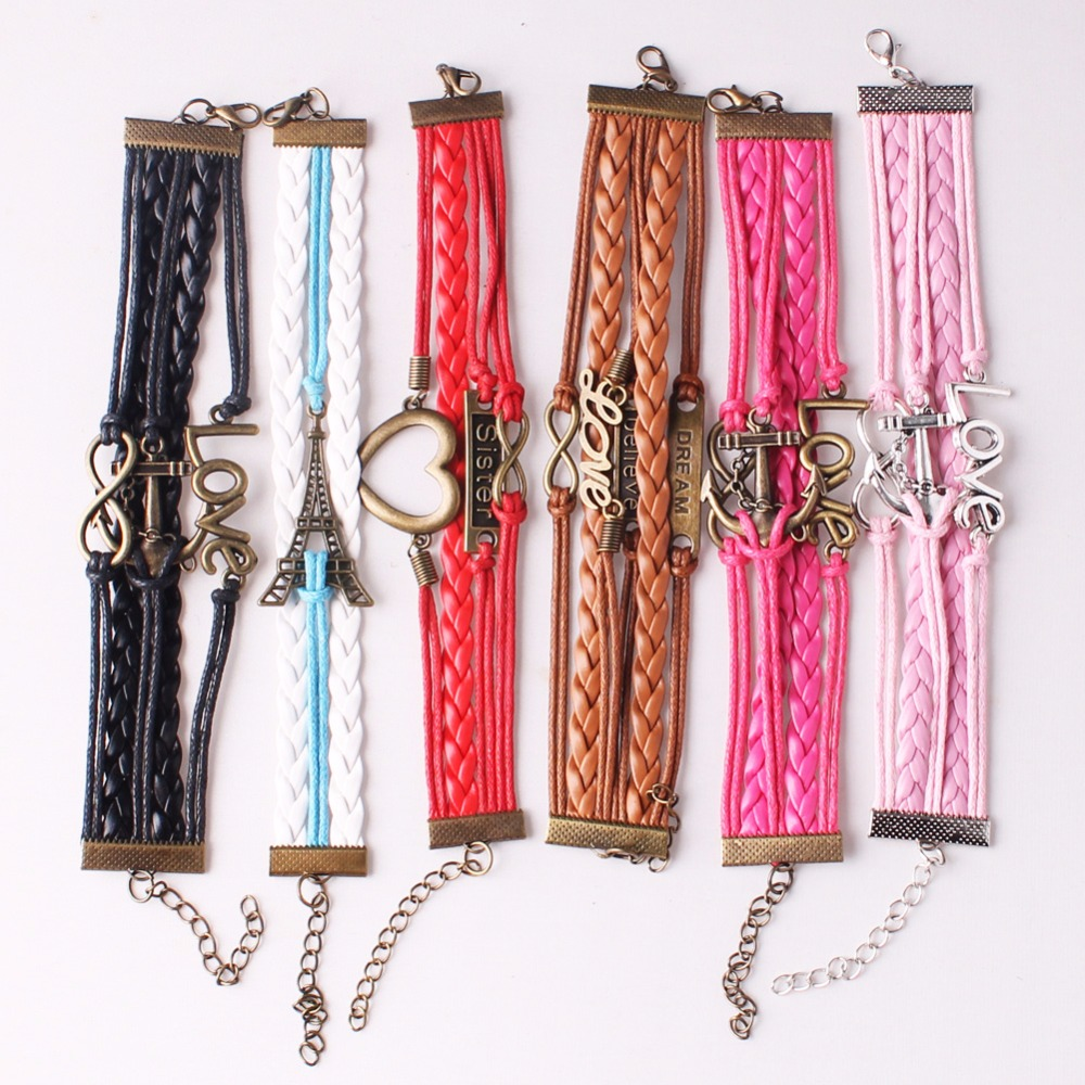 Random Styles Braided Adjustable Leather Bracelet Random Color Multilayer  Charm Popular Bracelet Cuff Women Men`