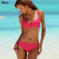 Classical Sexy 2 Pieces Bikini Set Nylon Plain Color Swimsuit Low Waist Push Up Bust Swimwear