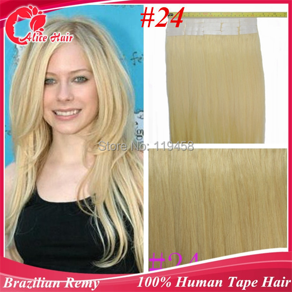 Brazilian Tape In Remy Human Hair Extensions24 Golden Blondeskin
