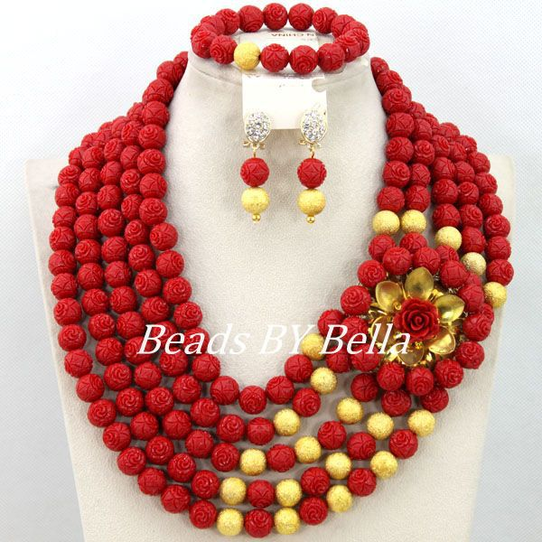 Здесь продается  Wonderful Nigerian Costume Jewelry Set African Jewelry Fashionable Sets Red Coral Beads Party Jewelry Set Free Shipping ABY395  Ювелирные изделия и часы