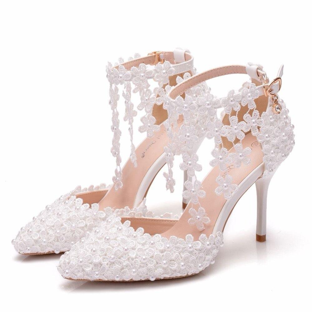 A Bianco Donna Sottili Queen Tacchi Bridals Pizzo Più White 42 Scarpe In Da Cristallo Sandali Formato Punta Nappa Il 9cm Di Sposa qSwnxW6X