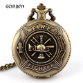 Bronze Control Fire Fighter Quartz Pocket Watch Necklace Pendant with Chain Vintage Fob watches Men Gifts relogio de bolso