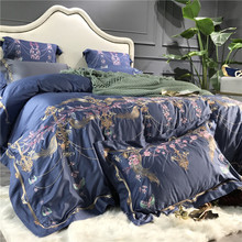 Blue Luxury Flowers Embroidery 80S Egyptian Cotton Palace Bedding Set Queen King Size Duvet Cover Bed sheet Linen Pillowcase