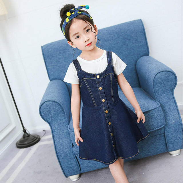 Niña vestido de moda verano estilo casual Denim Vestidos niños Vaqueros  ropa infantil niño niña otoño 8f98abd4046