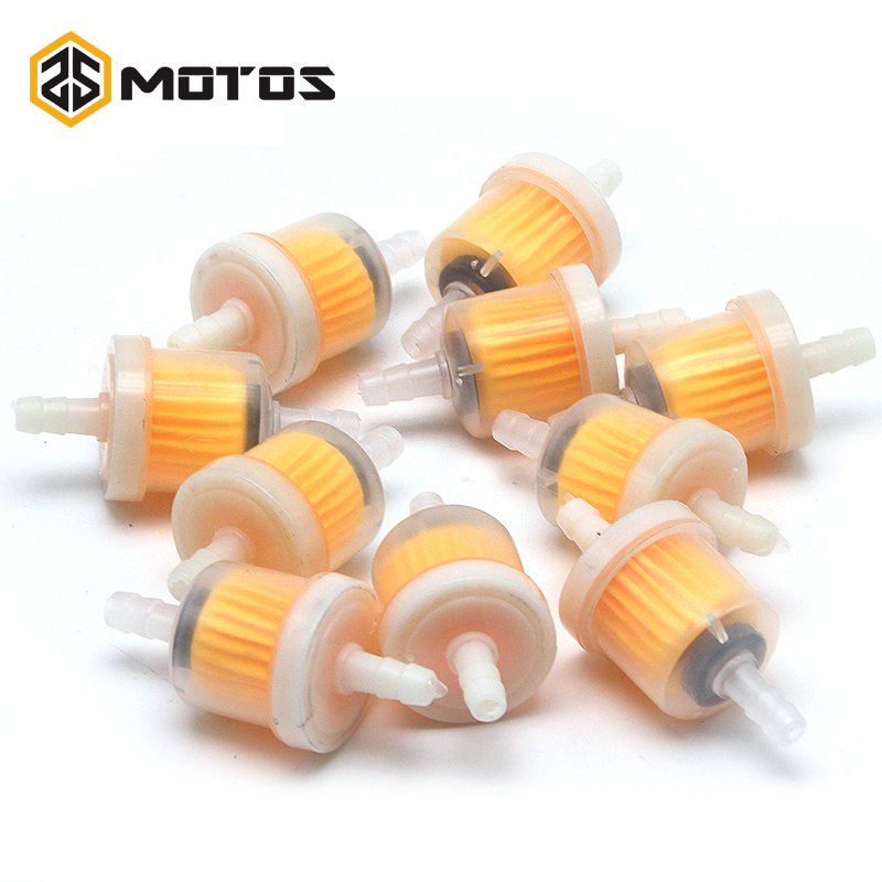 ZS MOTOS 10Pcs/lot Car Dirt Pocket Bike Oil Filter Petrol Gas Gasoline Liquid Fuel Filter For Scooter Motorcycle Motorbike Moto
