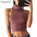Z & koze femmes sexy alta neck tanque mangas tops para as mulheres curto encabeça clothing fashion party clubwear quente malha camis tees