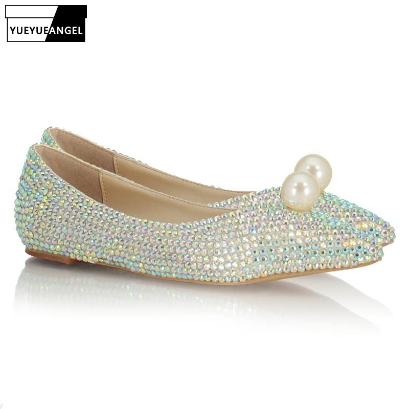 Fashion Women Shallow Slip On Loafers Bride Glitter Sequins Pearl Pointed Toe Wedding Dress Shoes Bridesmaid Ladies Flats Shoes - 2