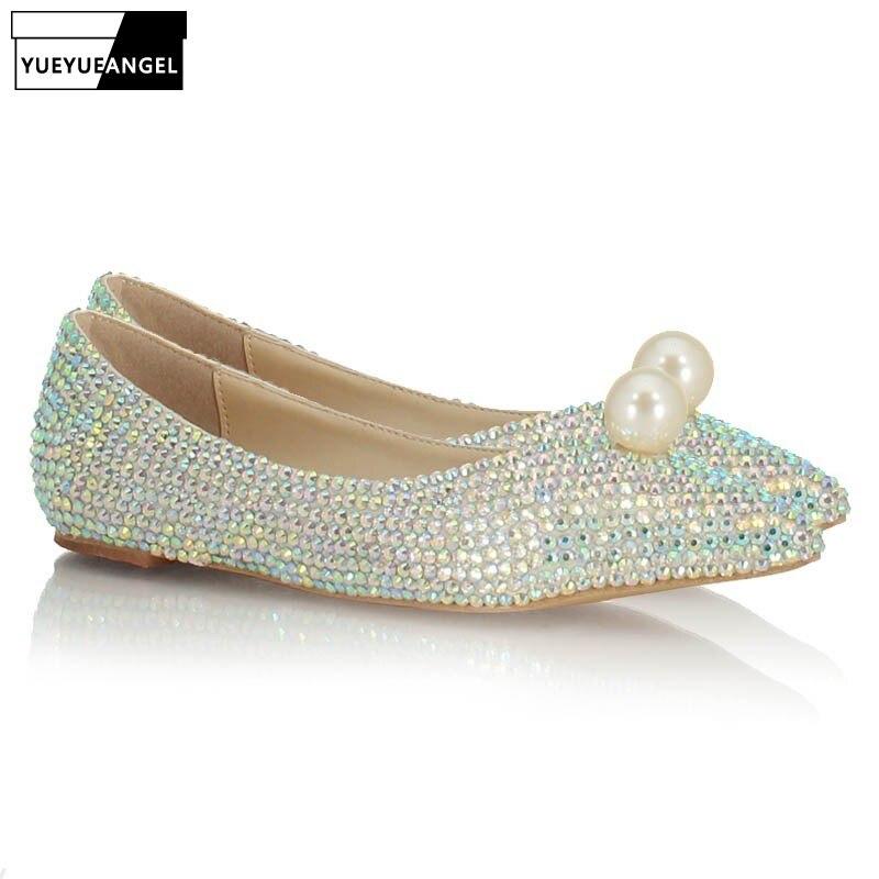 Mode Vrouwen Ondiepe Slip Op Loafers Bruid Glitter Pailletten Parel Wees Teen Trouwjurk Schoenen Bruidsmeisje Dames Flats Schoenen - 2