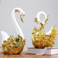 2PCS/Set Resin Crafts Swan lovers ornaments Animal figurines wedding decorations Swan desktop Home Decoration Accessories Gifts