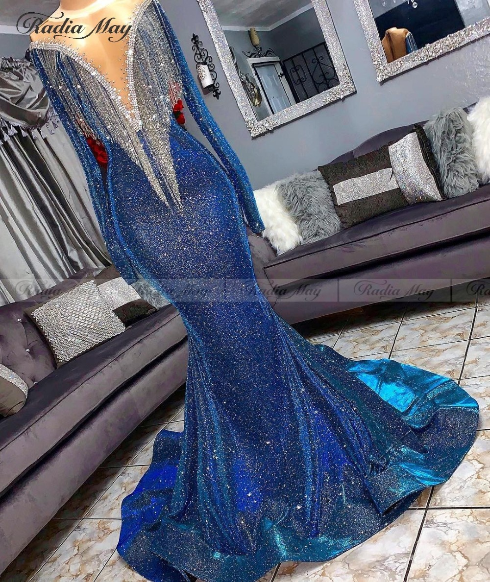 Glitter Sequin Tassel Mermaid Royal Blue Prom Dresses Black Girls Long Sleeves V-Neck Court Train African Long Graduation Dress