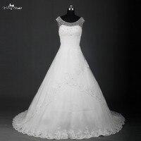 Robe De Mariee Boat Neck V Back Crystal Wedding Dress RSW740 Vestidos De Novia