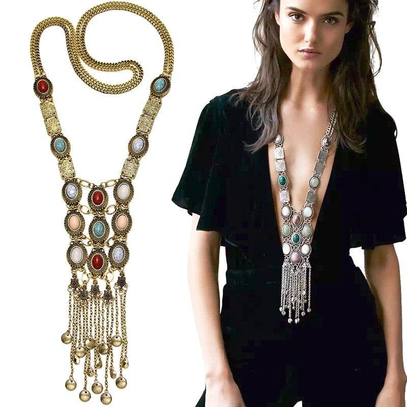Prix pour Jumelles Olsen Vintage Bohème Gland Long Collier Multicolore Pierre Boho Colliers Pour Femmes Costume Bijoux