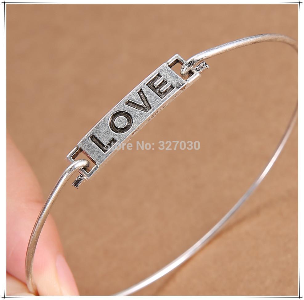 love infinity minimalist handmade wire charm bangle tibetan silver