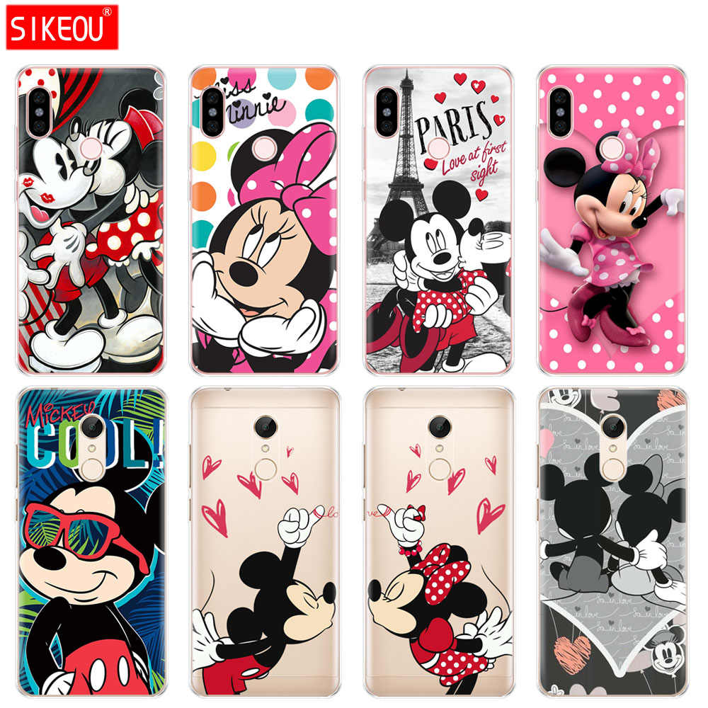 Silicone Cover phone Case for Xiaomi redmi S2 Y2 6 5 2 3 3s pro PLUS redmi note 4 4X 4A 5A 6A cartoon mouse Mickey Minnie