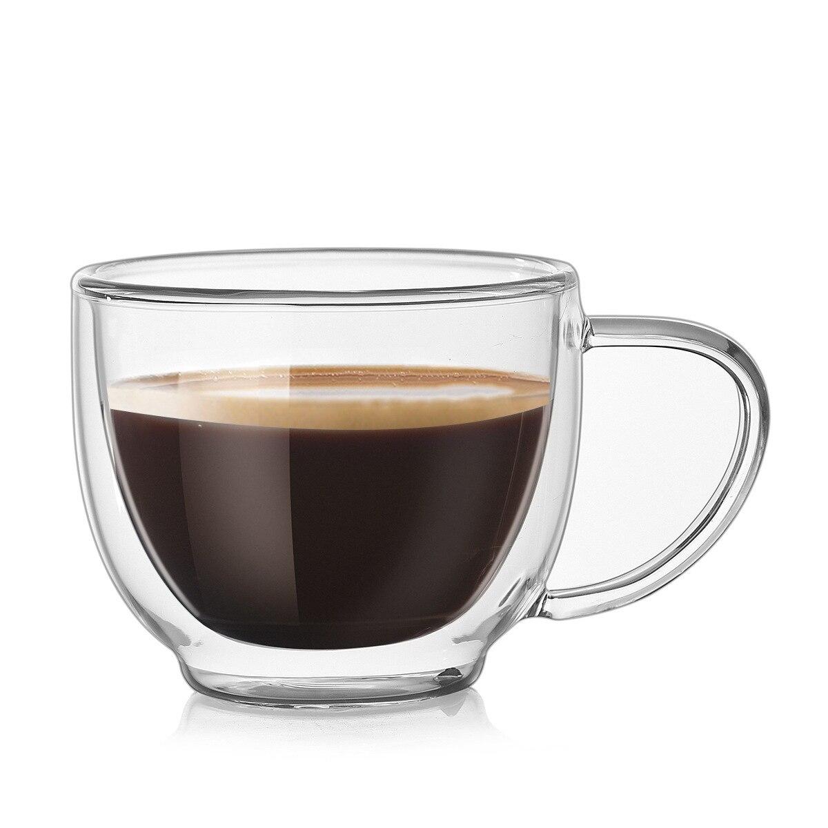 Glassware & Drinkware Double Wall Glass Coffee Cups Espresso Tea Latte Cappuccino Insulated Mugs 200ml Home, Furniture & DIY