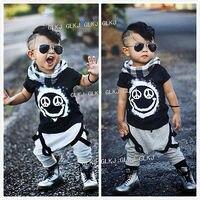 2016 New Fashion Cool 2pcs Newborn Toddler Kids Baby Boys Girls Outfits Smile Printed T Shirt