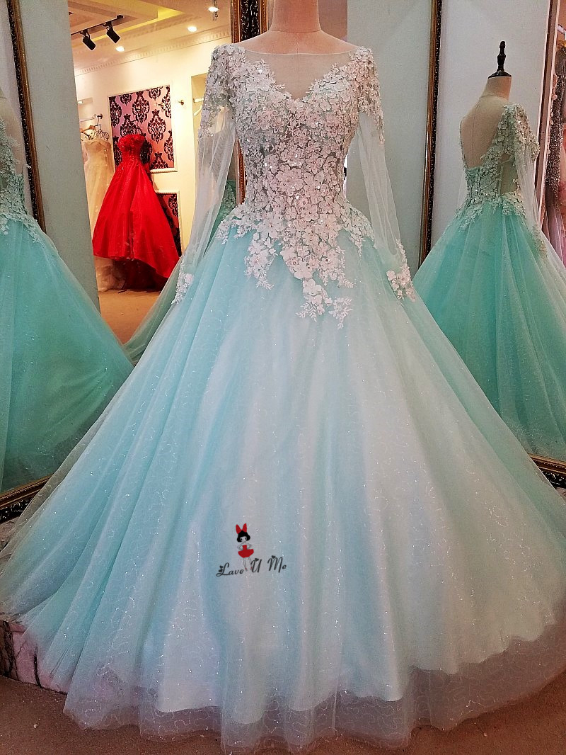 Turquoise Plus Size Wedding Dress Long Sleeve Lace Princess Bride ...