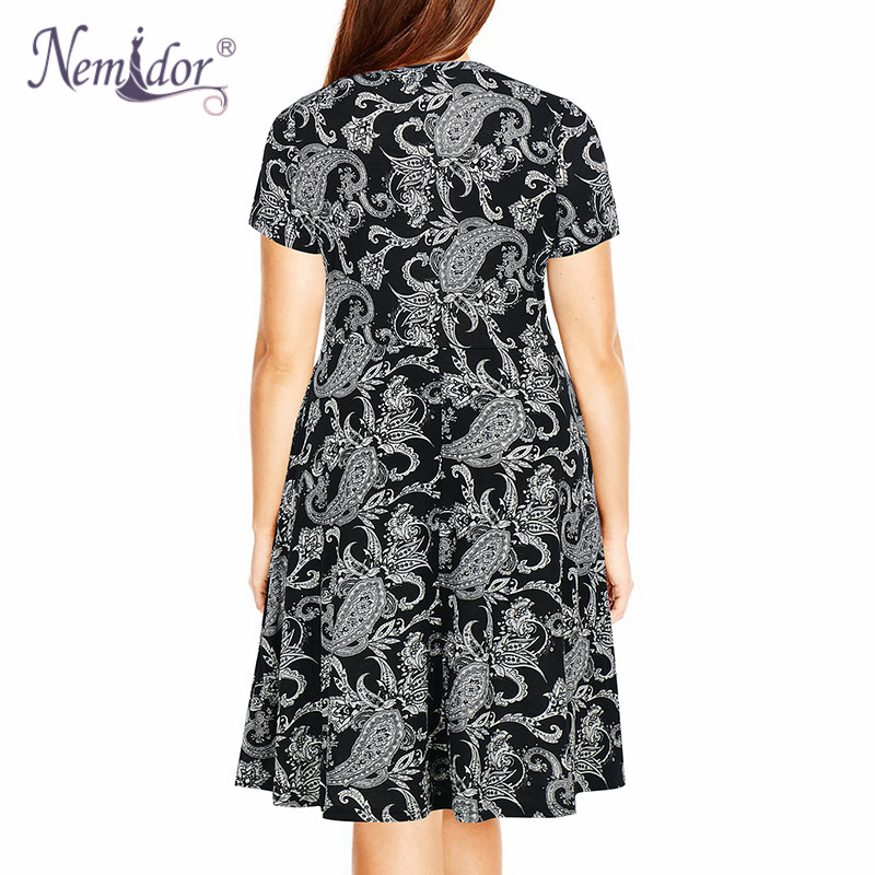 Nemidor Women's Round Neck Summer Casual Plus Size Fit and Flare Midi Dress with Pocket (2)
