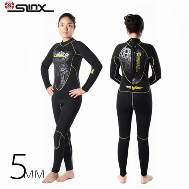 SLINX DISCOVER 1107 5mm Neoprene Women Spearfishing Windsurfing Snorkeling Swimwear Fleece Lining Warm Wetsuit Scuba Diving Suit slinx 1106 5mm neoprene scuba diving fleece lining wetsuit snorkeling surfing swimwear jumpsuit triathlon microvillus jellyfish