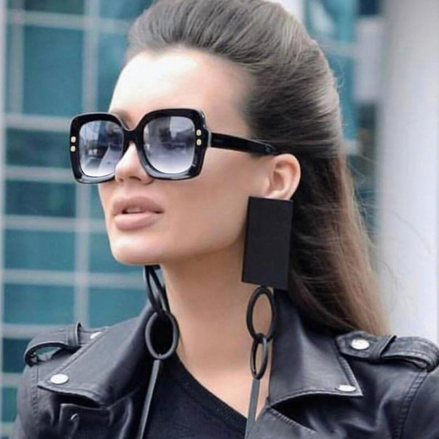 76e1eb1b8494 2018 Luxury Italy Oversized Square Sunglasses Women Retro Brand Designer  Sun Glasses For Female Ladies Black Eyewear 1175R