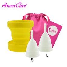 2pcs Menstruatie Cup en 1pcs Sterilisator Cup Steriliseren Inklapbare Cups Flexibele om Schoon Recyclebaar Camping Opvouwbare Cup