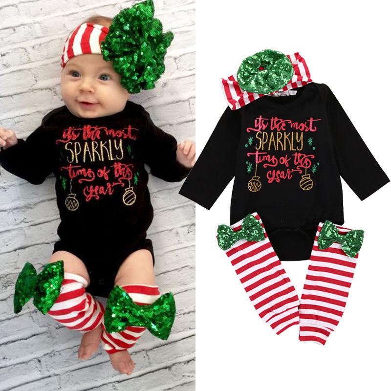 3PCS Christmas Xmas Outfits Set for Baby Girls Newborn ...