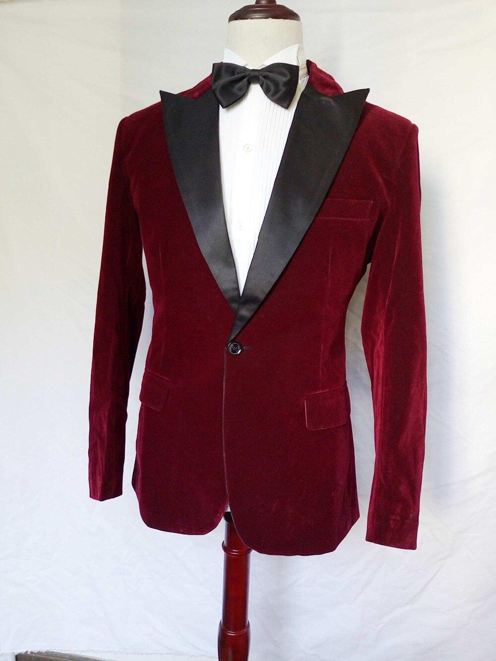 High Quality Dark Red Velvet Mens Suits Groom Tuxedos Groomsmen Wedding Party Dinner Best Man Suits (Jacket+Pants+Tie) K:2231