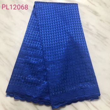 5Yards/pc Hot sale royal blue african cotton fabric lattice pattern embroidery swiss voile lace fabric for dress BC66-1