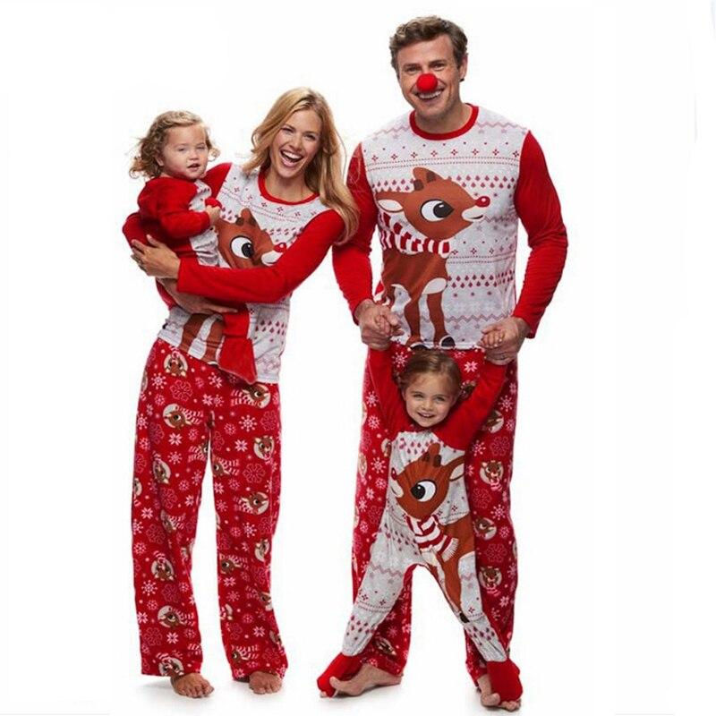 Puseky-Family-Christmas-Pajamas-Set-Elk-Print-Adult-Kids-Sleepwear-Nightwear-Pjs-Mother-Daughter-Outfits-Family
