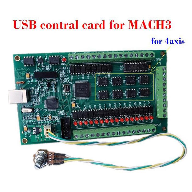 Carte de contrôle de mouvement d'usb Mach3 de 4 axes, carte d'interface de rupture de quatre axes de carte de contrôleur de CNC pour le routeur CNC