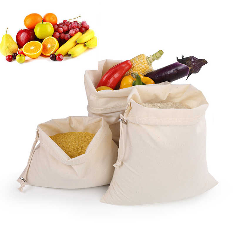 Reusable String Fruit/Vegetable/Rice/Bread Bag Grocery Shopper Rope drawstring Closure Cotton Home Storage Stuff Bag