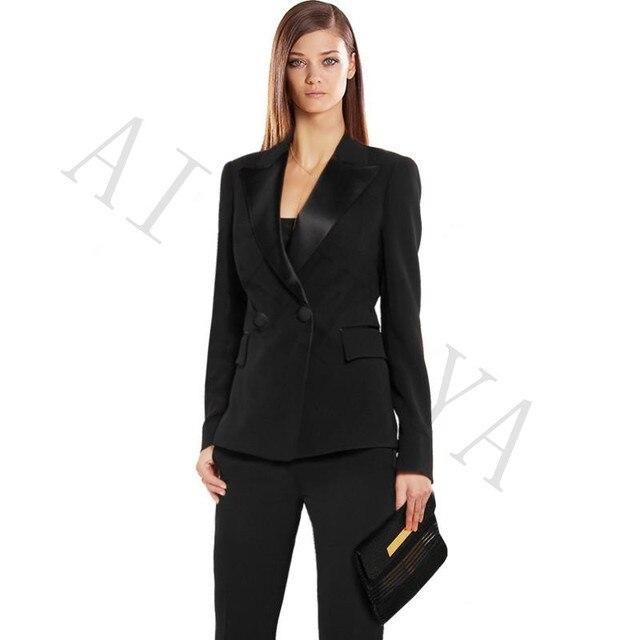1a9dd04065 Pantaloni vestito Delle Donne Vestiti di Affari Nero Doppio Petto Femminile  Ufficio Uniforme Raso Nero Risvolto