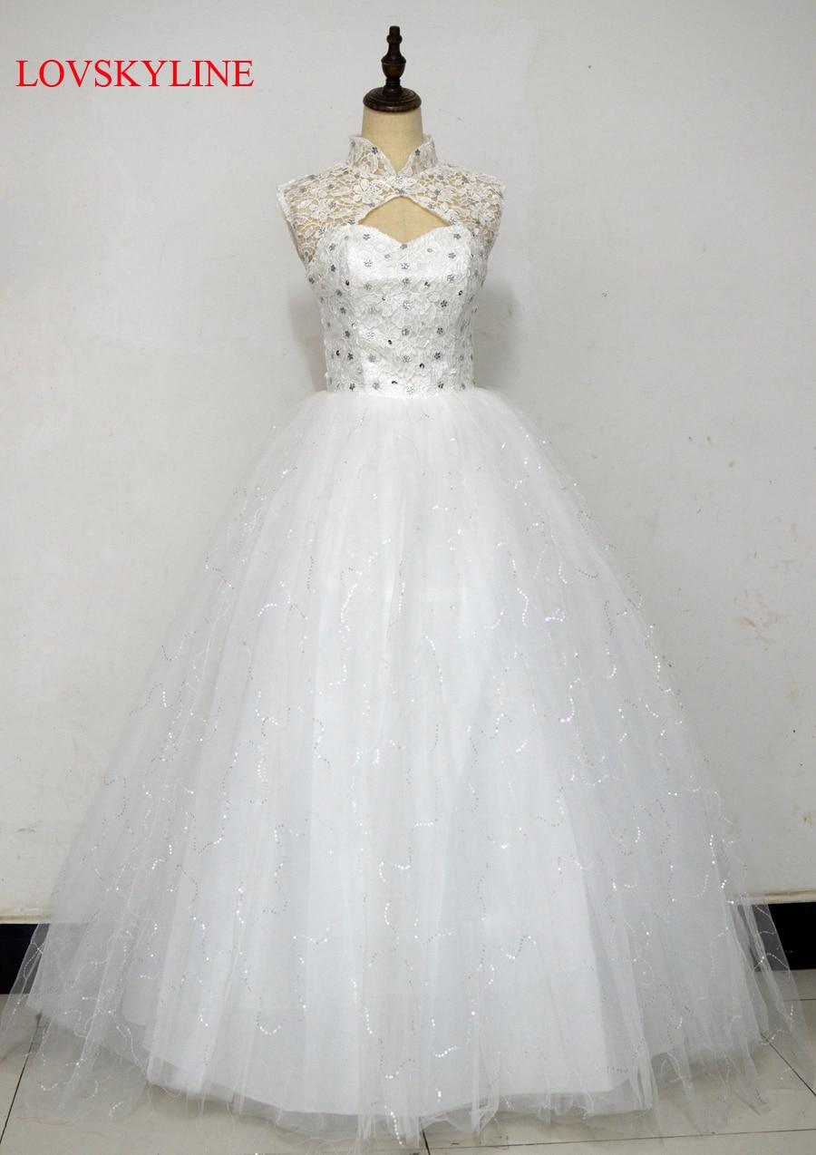 Bandage Lace up double shoulder 2017 bride plus size wedding dress slit neckline slim Vestido De