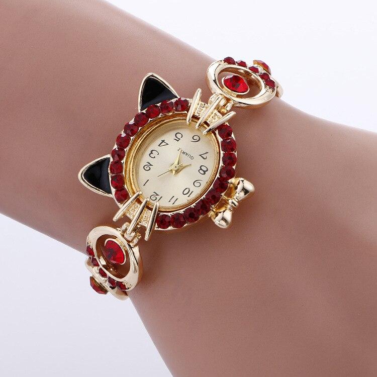 Luxury Women s Bracelet Quartz Wristwatches Ladies Dress Watches Rhinstone Golden Diamond Cat Relogio Feminino Reloj