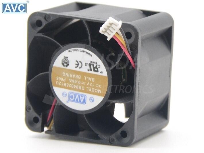 For AVC DB04028B12H DC 12V 0.53A 4-wire 4-pin 40x40x28mm Server Square fan