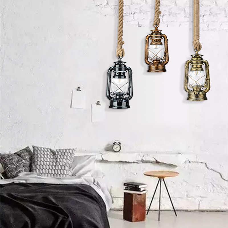 Vintage Dầu Hỏa Mặt Dây Chuyền Đèn Giá Bóng Đèn E27 Dây Gai Dầu Treo Đèn cho Gia Đình/Phòng Ngủ/phòng khách Công Nghiệp mặt dây chuyền Đèn