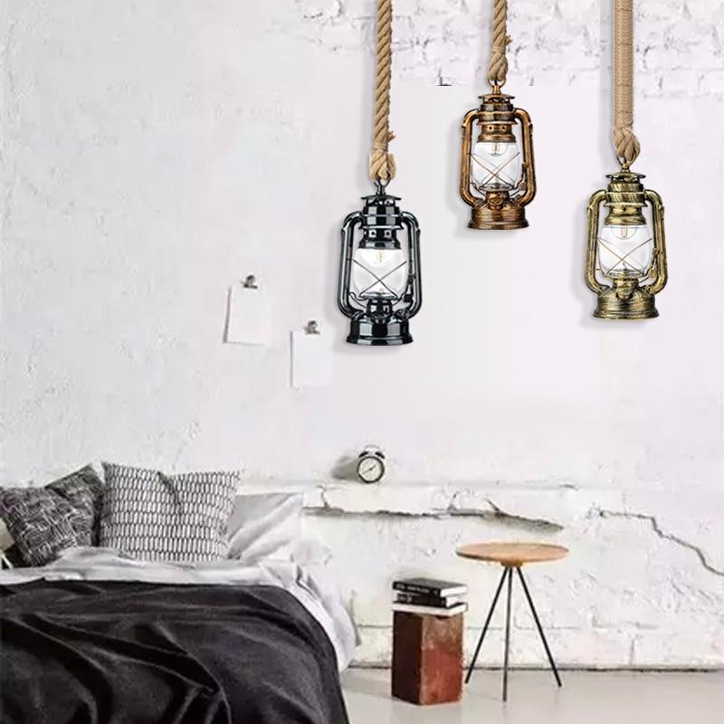 Vintage Kerosene Pendant Lamp With Free Bulb E27 Hemp Rope Hanging Lamp for Home Bedroom Living room Industrial Pendant Lights in Pendant Lights from Lights Lighting