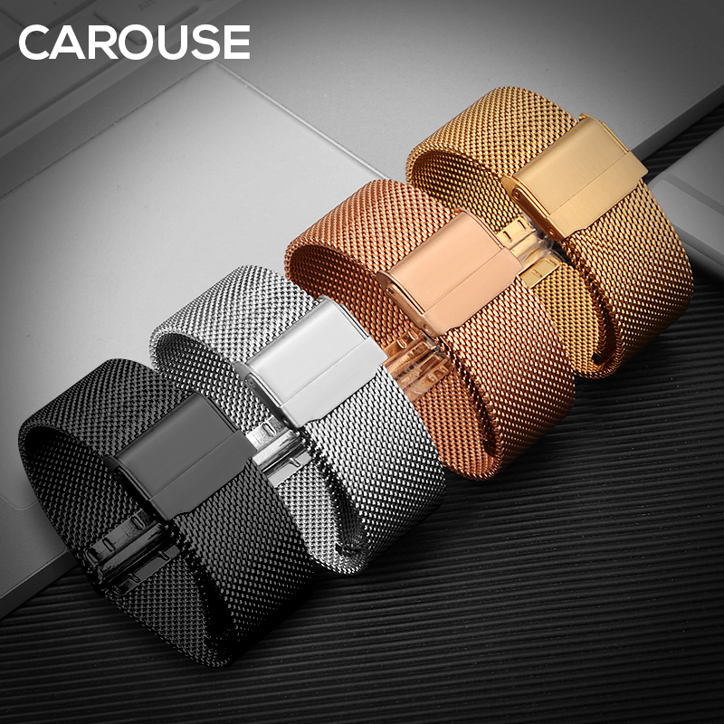 Carouse Milanese Stainless Steel Strap 18mm 19mm 20mm 22mm Watchband for Samsung Galaxy Watch 42mm 46mm Band Metal Wristband