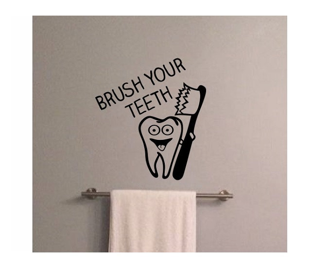 Brush Your Teeth Quotes: Quote Sign Wall Decal Brush Your Teeth Vinyl Bathroom Wall