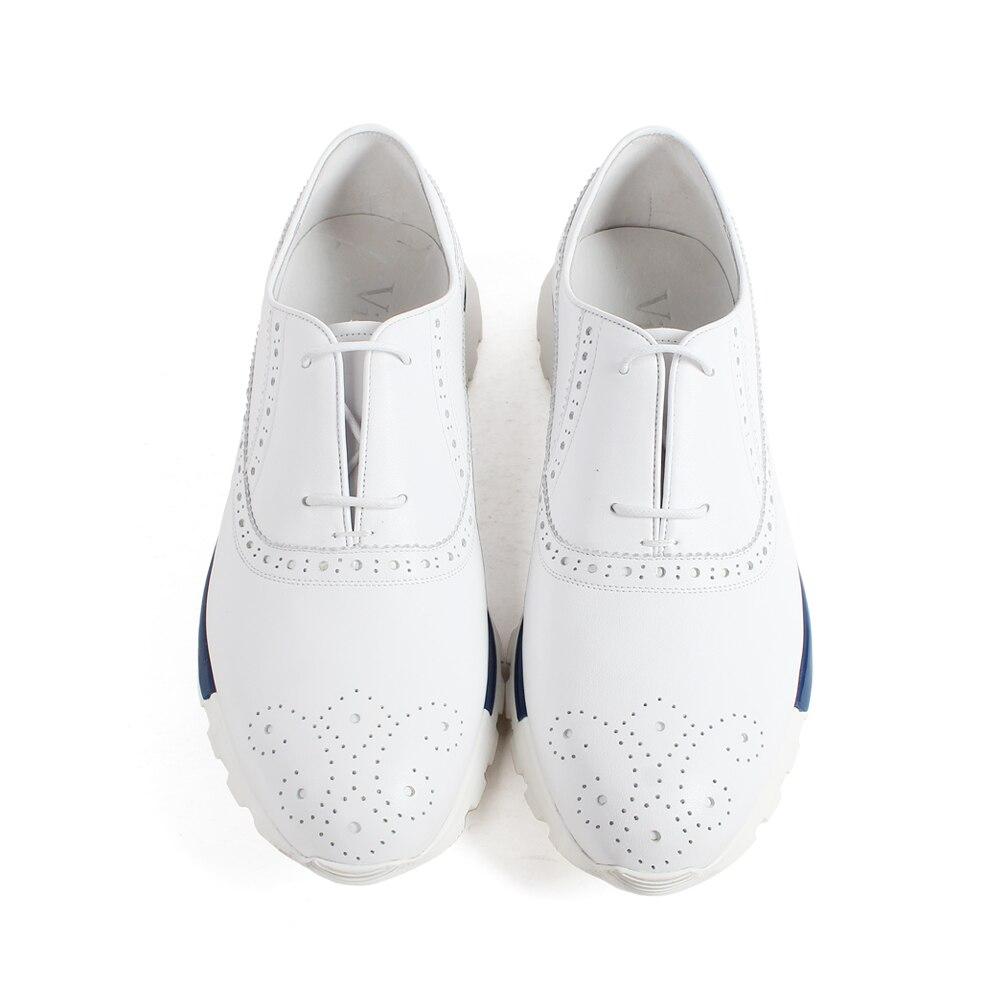 VIKEDUO zapatillas de piel de becerro genuino blanco Brogue encaje Up suela de goma hechos a mano zapatos de hombre Casual cuero deportivo calzado-in Zapatos informales de hombre from zapatos    3