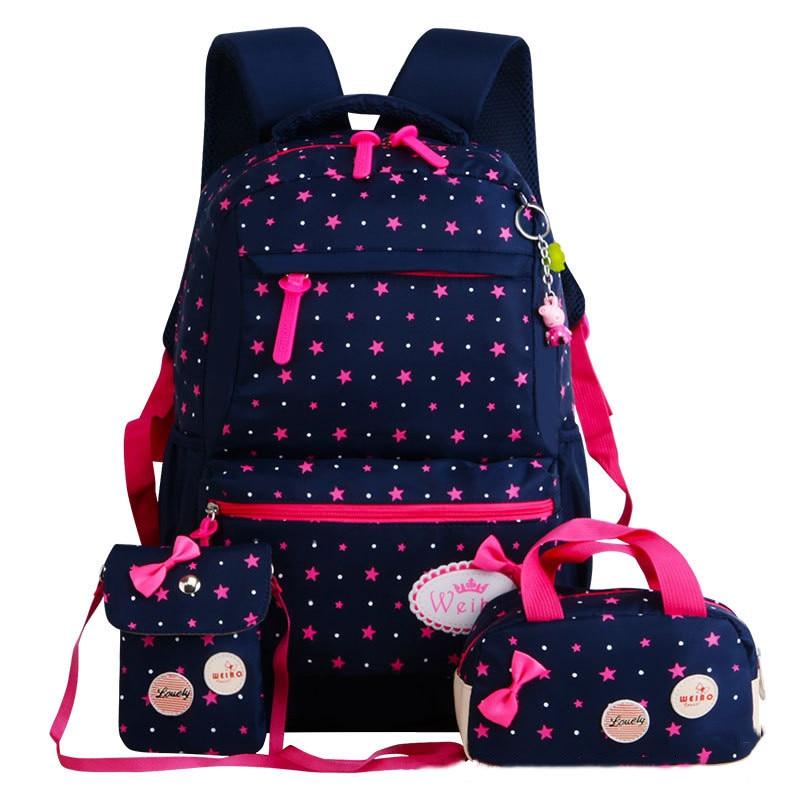 все цены на Fashion Girl School Bags For Teenagers backpack set women shoulder waterproof travel bags 3 Pcs/Set rucksack mochila knapsack онлайн
