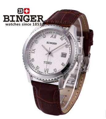 White Binger Automatic Mechanical Calendar Mens Watch Coffee Leather 3 Hands Wristwatches Super Mans Hollow Out Watches Roman