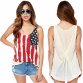 Casual T Shirt Women 2016 Summer T-shirt Women American Flags Print Top Tees Women T-shirt