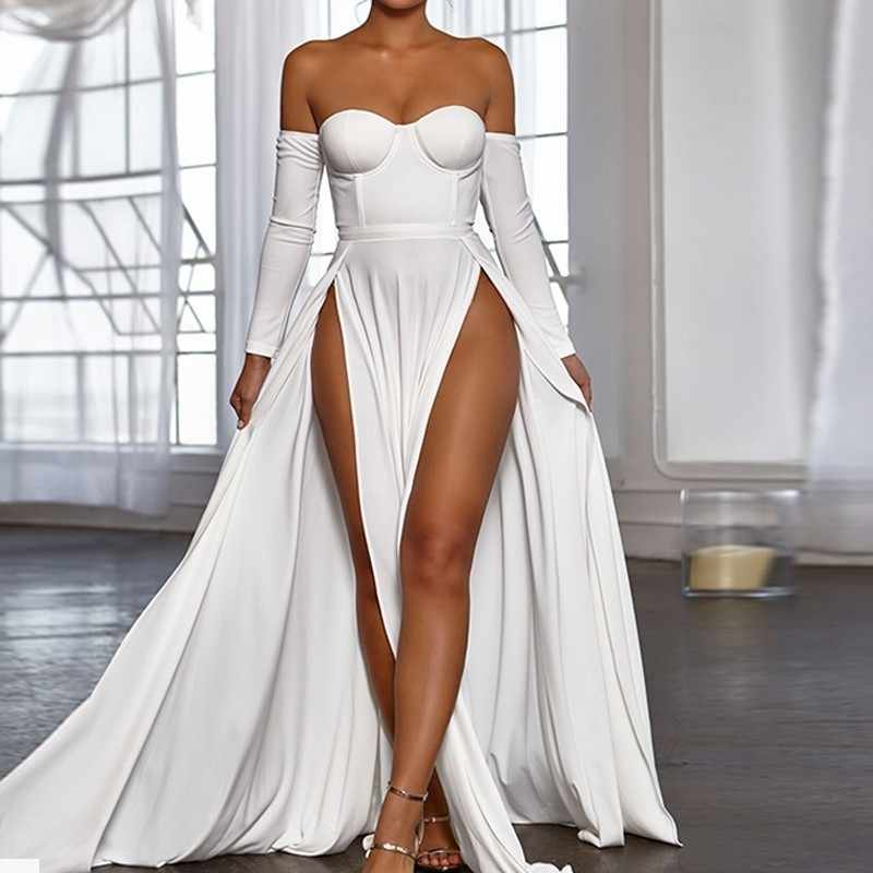 2269b19268c ... Fuedage Simple Solid Off The Shoulder Dress Women 2018 Party Summer  Dresses High Split Vintage Maxi ...