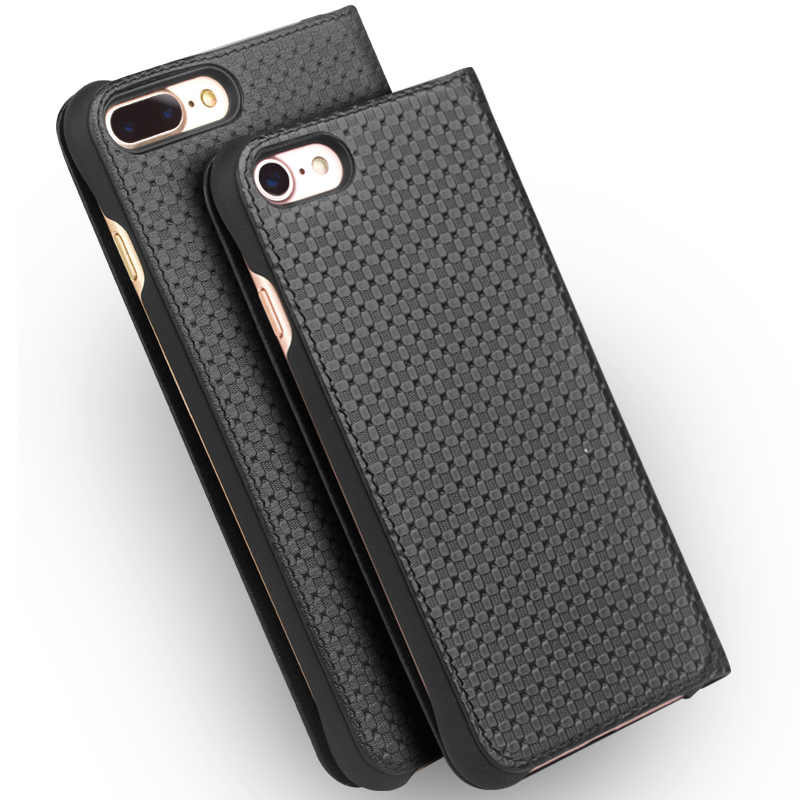 QIALINO Genuine Leather Case Telefone para o iphone 8 Artesanal de Ultra Fino Slot Para cartão de Tampa Articulada de Luxo para iPhone 8 plus 4.7/5.5 polegada